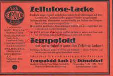 DÜSSELDORF, Werbung 1927, Tempoloid-Lack GmbH Zellulose-Lacke