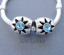 2pcs Silver tone Blue Crystal Charm Bead Fit European Bracelet or Necklace C48