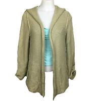 Bob Timberlake Womens Hooded Olive Green Sweater Open Front Cardigan Sz Medium