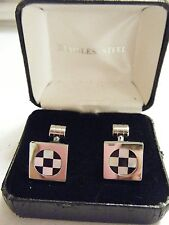 STAINLESS STEEL CUFFLINKS WITH MOTHER OF PEARL & BLACK ONYX DESIGN