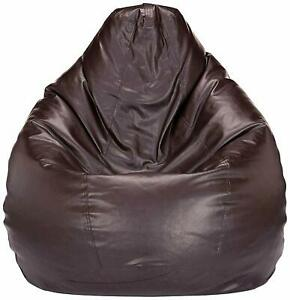 Mellifluous Leatherette Bean Bag Cover Without Beans (XXL, Brown)