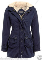NEW Womens FUR LINED CANVAS PARKA Ladies JACKET COAT PADDED Size 8 10 12 14 16