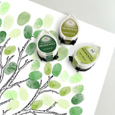 three fingerprint guest book tree ink pads - summer green set memento dew drop