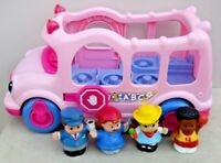 Fisher Price Little People Pink SCHOOL BUS With FIGURES Sounds & Lights