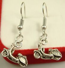 925 Silver Plated Hook- Cool Motorcycle Women Party Hyperbolic Chic Earrings se