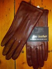 M&S COLLECTION FINE LEATHER GLOVES BURGUNDY WATER RESISTANT SIZE S FREE UK POST