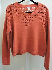 Hinge 100% Acrylic Red Apple Crop Crew-Neck Sweater - Size - Medium