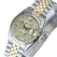 Rolex Mens Datejust 16013 Two-tone Silver FlowerDiamond Dial Fluted Bezel  36mm