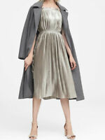 NWT Banana Republic New $139 Women Metallic Pleated Dress Size 10P, 10, 12, 14