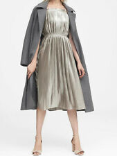 NWT Banana Republic New $139.00 Women Metallic Pleated Dress Size 10, 12, 14