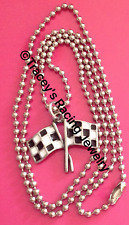 Checkered flag charm necklace auto racing jewelry NASCAR world of outlaws DF-C