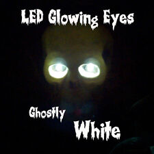 LARGE 10mm LED GLOWING EYES HALLOWEEN WHITE 9 VOLT 12 inch wires