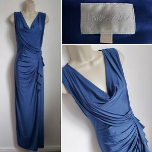 PHASE EIGHT Cornflower Blue Long Maxi Dress 12 Draped Cowl Ruched Prom Cocktail