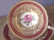 Vintage 1950's Paragon red gold pink rose English bone china tea cup teacup