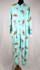 One Piece Pajamas XXL Nick & Nora Winter Sports Sock Monkey Skiing Hockey Sled