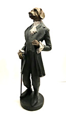 Dog Man Figurine Distinguished Well Dressed Human Body Dog Head 17 inches Tall