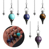 Balance Reiki Natural Stone Crystal Pendulum Circular Cone Charm Pendant~