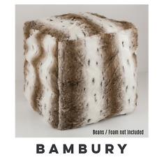 Bambury Faux Fur Ottoman Foot Pouf Cover | Fill with Beans/Foam 43cm ARCTIC FOX