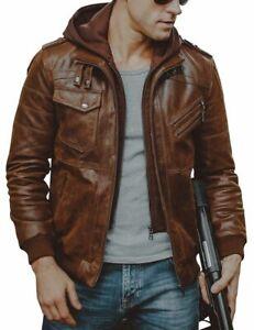 New Men Bike Vintage Brown Motorcycle Cafe Racer Real Leather Detach Hood Jacket