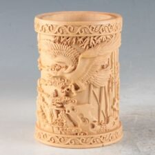 Chinese Bamboo Hand Carved Eagle pine bamboo Pen container Brush Pot