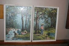 Vintage PBN  Paint By Number Pictures Finished Matching Scene Fishing Boy