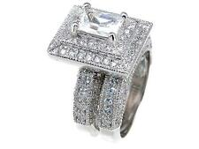3.25 TCW .925 Silver Antique Style Emerald Pave Halo CZ Wedding Ring Set Size 9