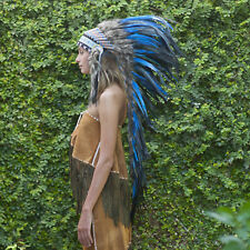 Indian Headdress Chief Real Feathers Bonnet Native American Karma Blue Colour