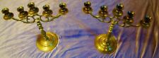 Antique Brass Candelabra Pair 5 Arms Solid Heavy Brass Approx 1950s - 1960s