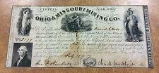 {BJSTAMPS} 1847 Ohio & Missouri Mining Co. 1 Share 50 Dollars lead & copper ore