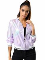 Allegra K Women's Holographic Metallic Bomber Jacket