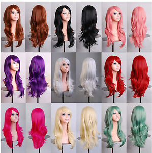 Sexy 70cm Full Curly Wigs Cosplay Costume Anime Party Hair Wavy Fashion Long Wig