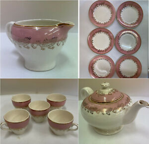 Washington Pottery Hanley Ltd Tea Set Pink White Golden Dragons Job Lot (D2)