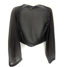 Yansi Fugel Black Shrug Wrap Shawl Silk Dressy Satin Trim Long Sleeves OS