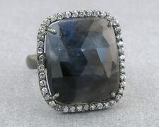 12.25ct Rose Cut Sapphire & Diamond Cut White Sapphire 925 Silver Cocktail Ring