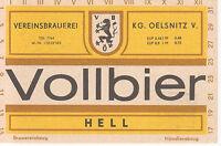 1 Bieretikett Oelsnitz Vollbier Hell DDR