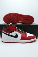 "Nike Air Jordan 1 Mid ""Chicago"" White Heel Gym Red 554724-173 Men & GS"