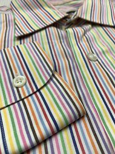 Robert Talbott Mens Dress Shirt Long Sleeve Colorful Striped Multicolor 16.5-35