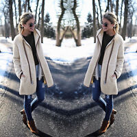Fashion Womens Winter Cardigan Coat Top Jacket Long Zipper Fleece Sweater Jumper