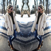 Womens Winter Warm Turtleneck Zip Long Cardigan Coat Thick Overcoat Tops Outwear