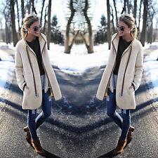NEW Women's Winter Collar Fur Cardigan Coat Fluffy Long Zipper Jacket Outwear US