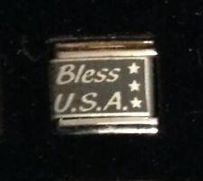 Bless USA - America Stars - Italian Charm Bracelet Link 9mm - Laser Linx