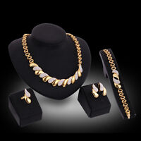 Women 18K Gold Plated Rhinestone Necklace Earring Ring Wedding Party Jewelry Set