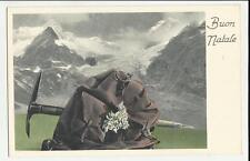 antica cartolina di buon natale con zaino e picozza