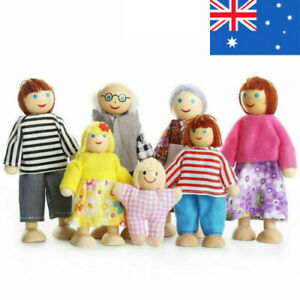 7 People Wooden Furniture Dolls House Family Miniature Kid's Children Toys Gift