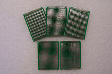 """5 PCS 2"""" X 2 3/4"""" DIY PROTOTYPE PC BOARDS 5 X 7 CM DOUBLE SIDED WITH FEEDTHROUGH"""