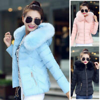 Womens Winter Quilted  Puffer Coat Fur Collar Hooded Down Jacket Parka Outerwear