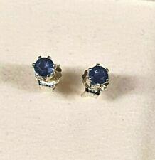 3 mm royal blue sapphire stud earrings in Sterling silver