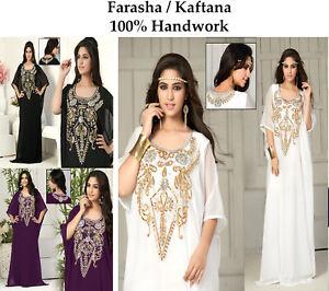 Dubai Style Women Kaftan Caftan Farasha Abaya Maxi Dress Kimono Beach Cover Up M