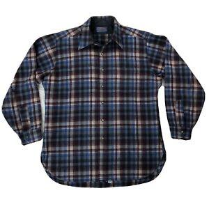 Vtg Pendleton Flannel Button Front Long Sleeve Shirt Mens Sz Large Blue Red