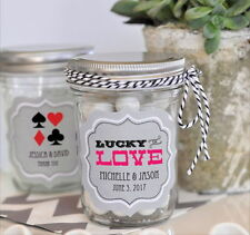 48 Personalized Las Vegas Theme Wedding Mini Mason Jars Wedding Favor Candy Jars